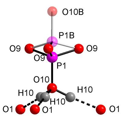 ​​View of the (T(1)O3OH) group split along c axis; details of O10-H10…O1 hydrogen bond and coordination of O1 are also added.